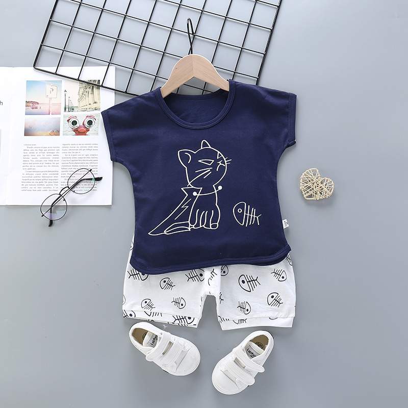 2 Pieces/Set 2020 New Childre Clothes For Boys Girls Kids Lovely Cute Cartoon Short Sleeve Vests Clothing Sets Boy Girls Pajamas