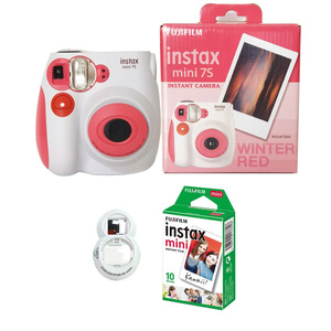 Image 4 - 100% Authentic Fujifilm Instax Mini 7s Instant Photo Film Camera, with 10 Sheets Fuji Instax Mini White Film and Selfie Lens