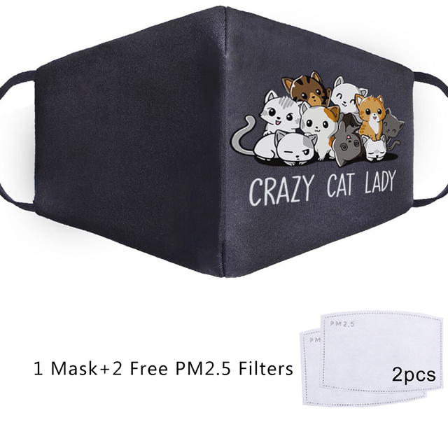 Cute Cats Animal Kpop Cat Kawaii Printed Reusable PM2.5 Filter Mouth Mask Anti Dust Face Mask Mouth-Muffle Washable Mask