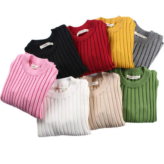 Kid's Fitted Ribbed Top Baby Boys Girls Sweater Children Clothes Girl Children Clothing Knitted Pullover Solid Sweaters for Kids