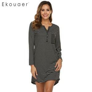 Image 3 - Ekouaer Ночная сорочка Осенняя Женская полосатая одежда для сна Повседневная Ночная рубашка с v образным вырезом карманная ночная рубашка Женская сорочка ночная рубашка