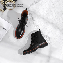 ROBESPIERE 2019 Round Toe Ankle Boots Women Lace Up Black Platform Casual Shoes Woman Winter Warm Plush Classics Snow Boots B16 цены онлайн