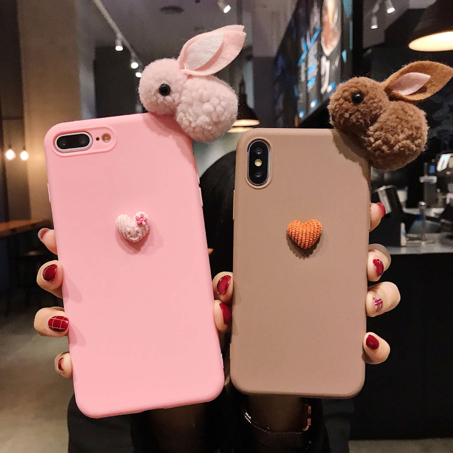 Cute Heart Rabbit Fur Case For Motorola Moto G7 Power G6 Plus G5S G5 E4 E5 Play E6 Z3 Z4 P40 Cute Lovely Heart Soft TPU Cover