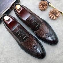 QYFCIOUFU Vintage Oxford Shoes For Men Fashion Lace-up Mens Dress Shoes Breathable Carved Business Formal Shoe Genuine Leather