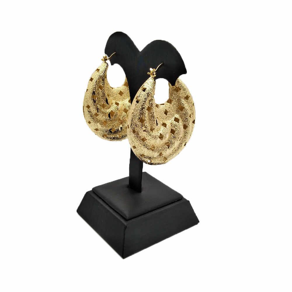 זהב צבע עגיל תליון תכשיטי סטים חדש עיצוב אפריקאי נשים שרשרת אבן תליון
