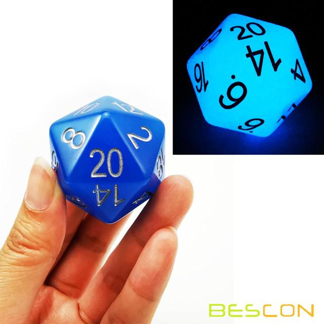 Bescon Jumbo Glowing D20 38MM, Big Size 20 Sides Dice 1.5 inch, Big 20 Faces Cube in Various Solid, Glitter, Glowing Colors 1