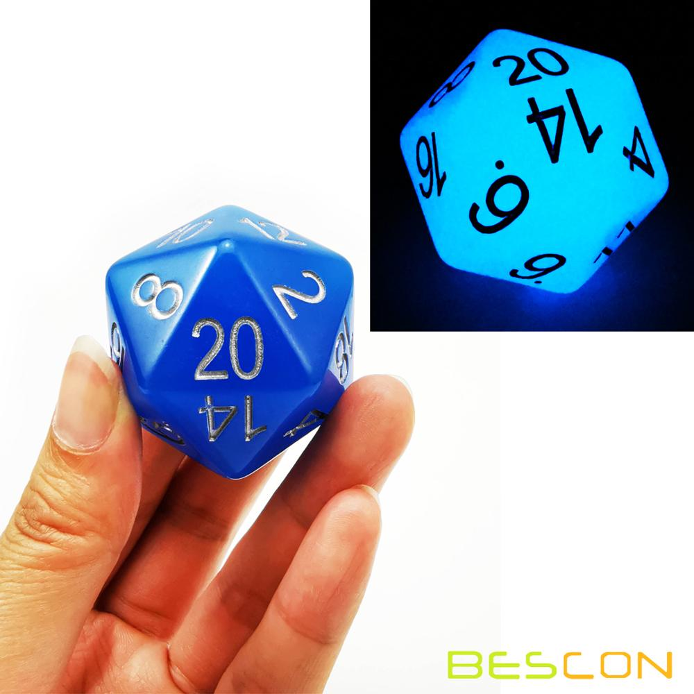 Bescon Jumbo Glowing D20 38MM, Big Size 20 Sides Dice 1.5 Inch, Big 20 Faces Cube In Various Solid, Glitter, Glowing Colors