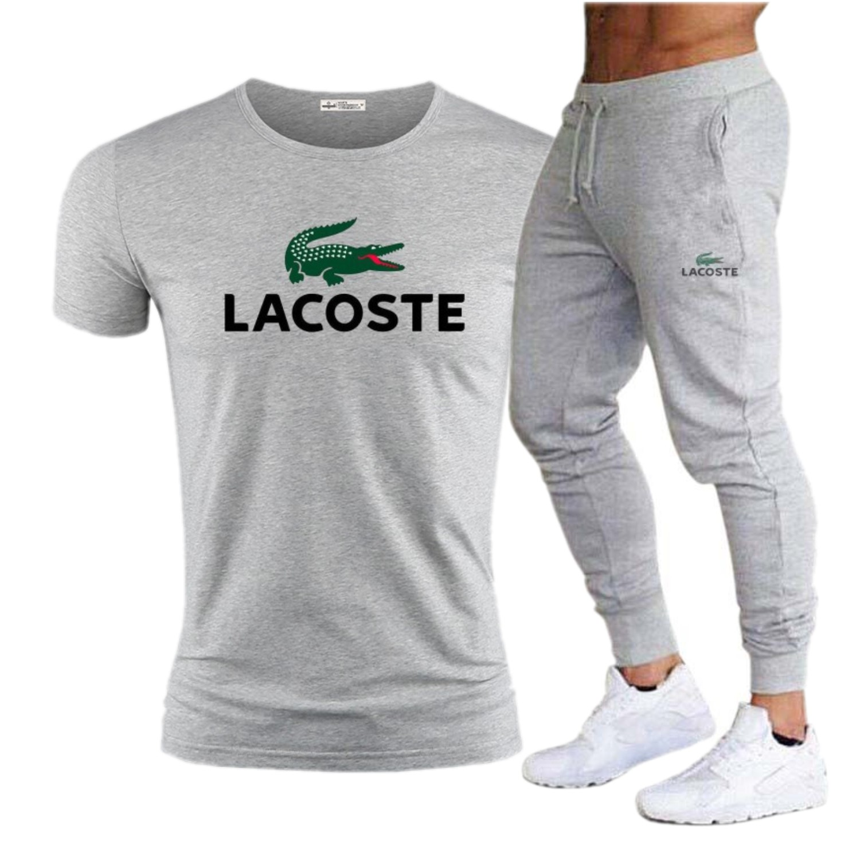 Lacoste- Casual Male Tracksuit Clothing Summer Men Set Fitness Suit Sporting Suits Short Sleeve T Shirt + pants 2 Piece Set