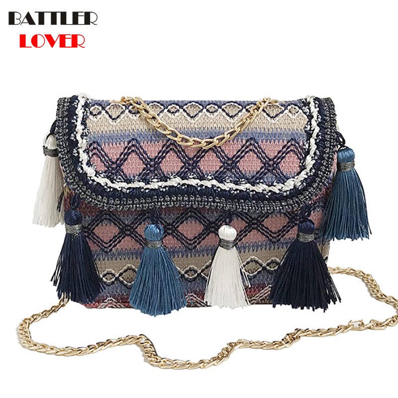 2019 Ins Hot Fashion Wool Women Handbag Tassel Plaid Messenger Bag Vintage Ladies Flap High Quality Chain Shoulder Bag Crossbody