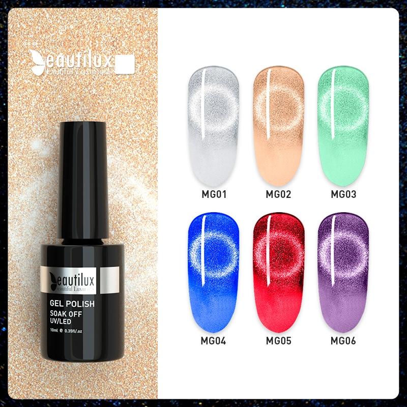Beautilux 9D Platinum Cat Eye Gel Лак для ногтей Nail Art Art Магнитные УФ-светодиоды Гели Лак Полуперманентный лак для ногтей 10 мл