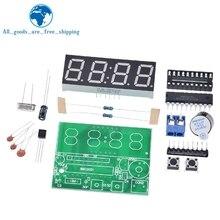 Цифровой светодиодный дисплей TZT AT89C2051, 4 бит, электронные часы, набор для производства электроники, набор для самостоятельного изготовления, 0,56 дюймов, красный, два будильника