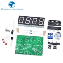 TZT AT89C2051 Digital LED Display 4 Bits Electronic Clock Electronic Production Suite DIY Kit 0.56 Inch Red Two Alarm