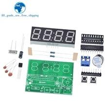 TZT AT89C2051 شاشة LED رقمية 4 بت ساعة إلكترونية الإنتاج الإلكتروني جناح لتقوم بها بنفسك عدة 0.56 بوصة الأحمر اثنين من التنبيه