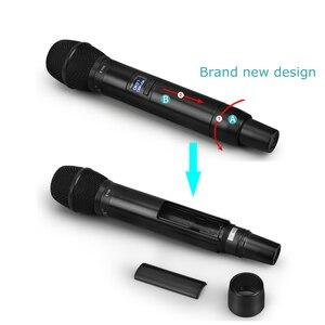 Image 4 - EYK E100 UHF stała częstotliwość 2 kanały bezprzewodowy System mikrofonowy podwójny ręczny mikrofon daleki zasięg dla KTV Karaoke Family Party