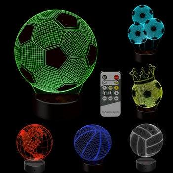 цена 3D Soccer Basketball Touch Table Lamp 7 Colors Changing Desk Lamp USB Power Night Lamp Football LED Light Bedroom Decor Gift онлайн в 2017 году