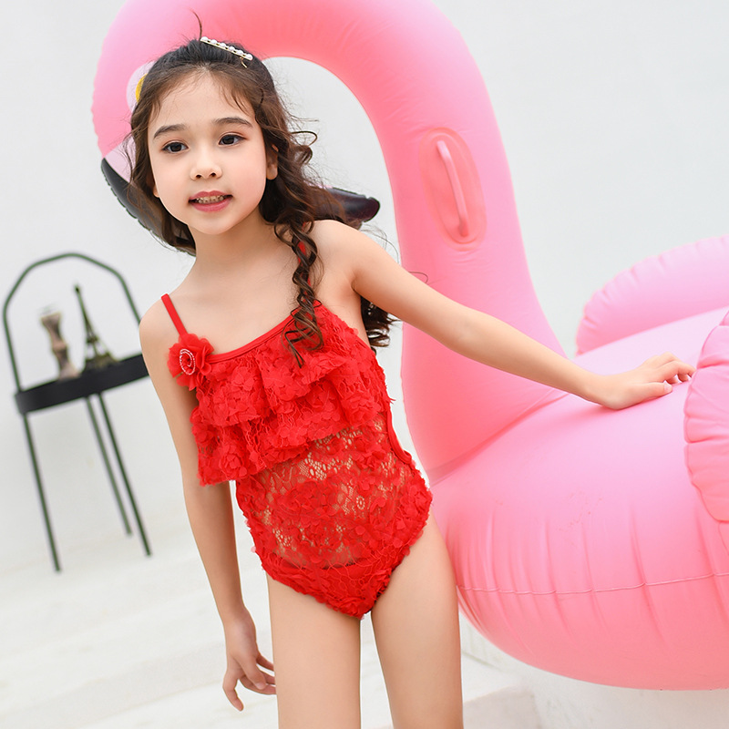 One-piece Swimsuit For Children Girls Cute Lace Hollow Out Stereo Flowers Fashion Swimwear Big Boy Hot Springs Swimwear