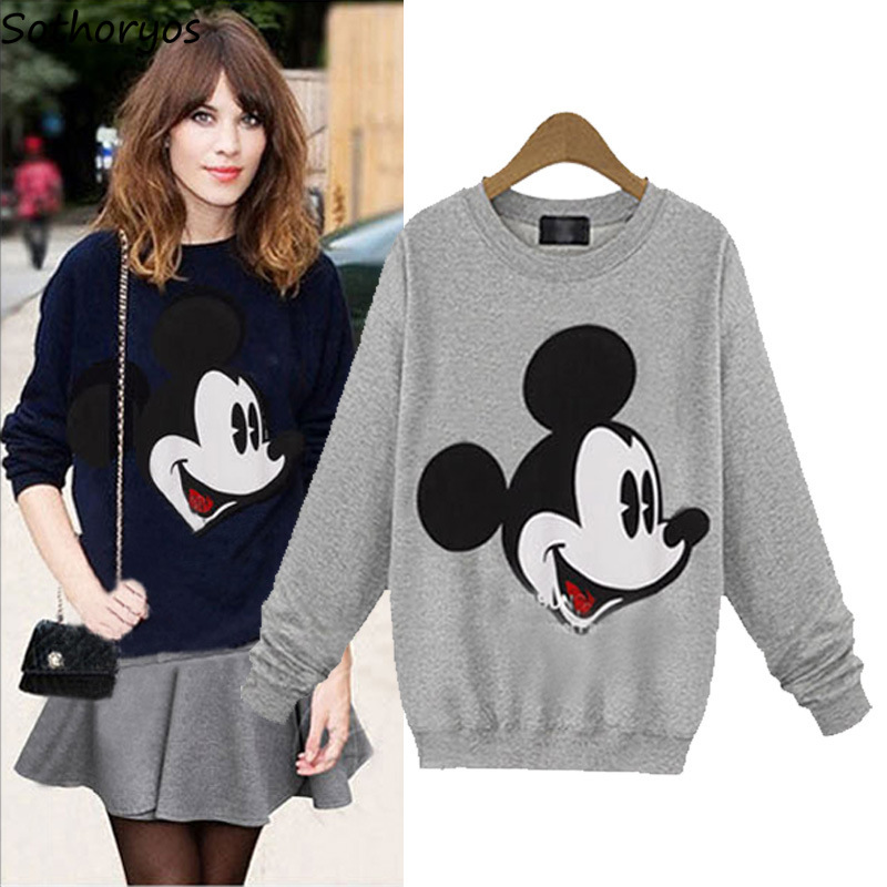 Hoodies Women O-Neck Mickey Printed Kawaii Loose Thin Pullovers Womens Long Sleeve European Style Chic Ladies Cotton Sweatshirts