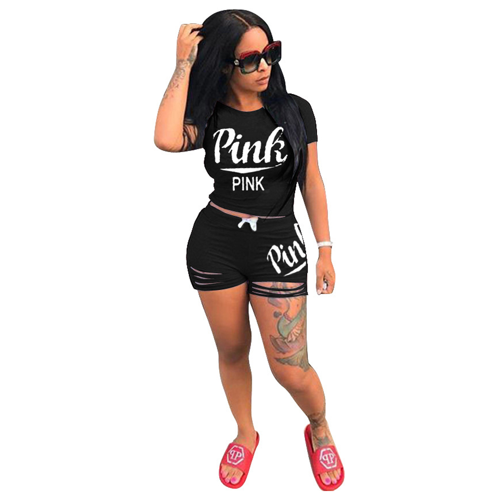 Women Pink Set Outfits 2 Piece Tracksuit Summer 2020 Runway Letter Print Sweatsuits Casual Sport Bodycon Two Piece Biker Set