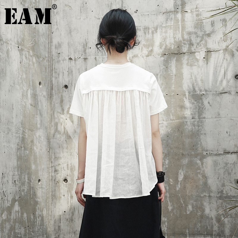 [EAM] 2020 New Spring Summer Round Neck Short Sleeve White Back Long Pleated Stitch Loose T-shirt Women Fashion Tide JR495