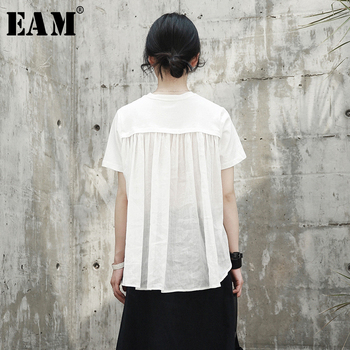 [EAM] 2021 New Spring Summer Round Neck Short Sleeve White Back Long Pleated Stitch Loose T-shirt Women Fashion Tide JR495 - discount item  17% OFF Tops & Tees