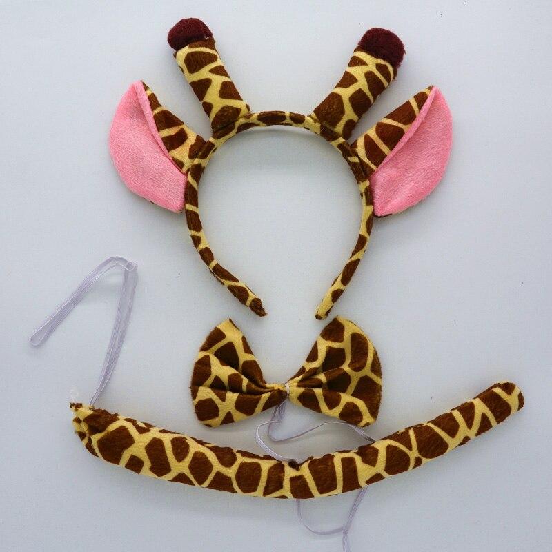 Детская повязка на голову с ушками животных для мальчиков и девочек; комплект с галстуком-бабочкой и хвостом для детей и взрослых; карнавальный костюм; вечерние аксессуары для волос - Цвет: 9
