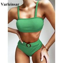 Ribbed Swimsuit Bikini-Set Swim-Wear Two-Pieces High-Waist Women V1890 2-Colors NEW