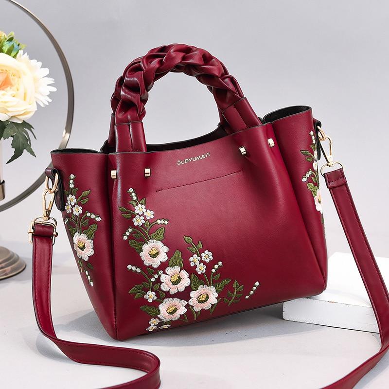 Korean Floral Crossbody Tote Bag Women 2020 Weave Handle Designer Handbag High Quality Pu Leather Strap Shoulder Bags Small Sac