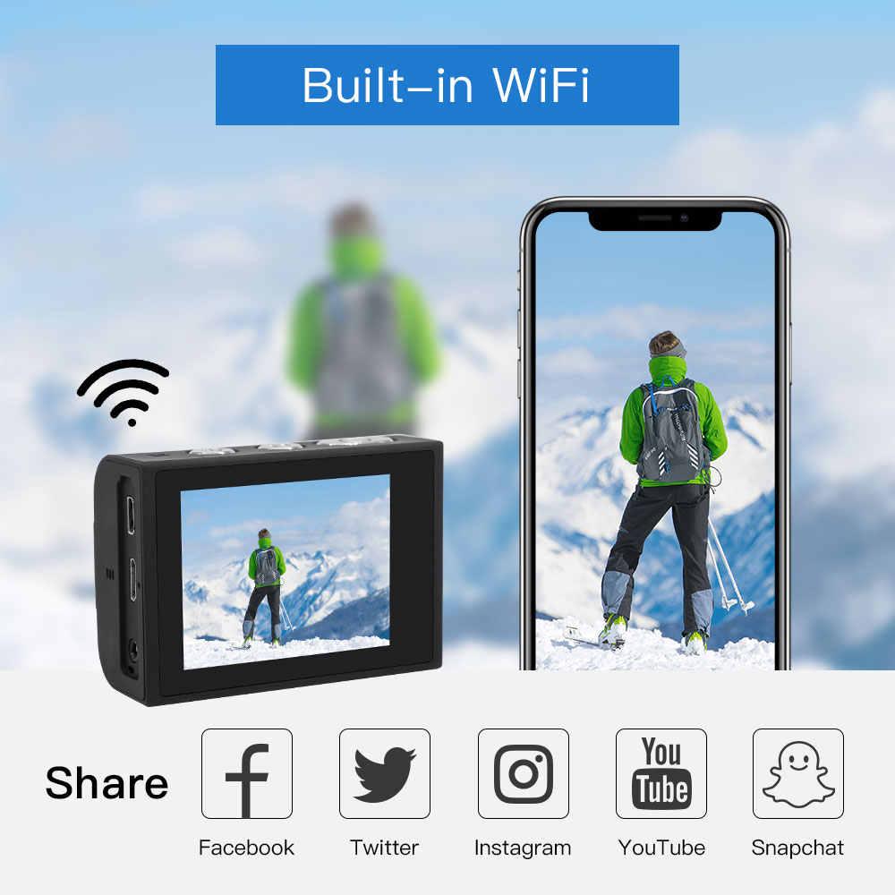 Cámara de acción deportiva 4K con función EIS mando a distancia externo Mic sumergible 30M WIFI accesorios para cámaras de grabación de vídeo