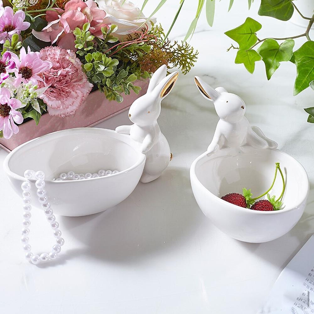 Cerâmica coelho estatueta organizador bandeja decorativa cerâmica