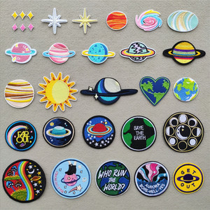 Alien Planet Clothing Patches Iron on Transfer Earth Stripes for Backpack Badges Star Stickers on Clothes Embroidery Appliques(China)