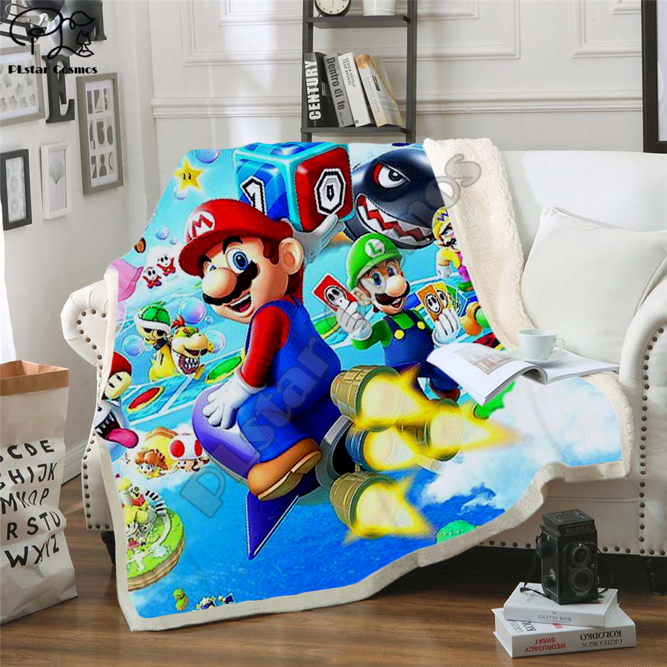 Kids Super Mario Cartoon Blanket 3d soft Flannel Fleece Blanket anime sonic Print Children boy girl Warm Bed Throw Blanket 004