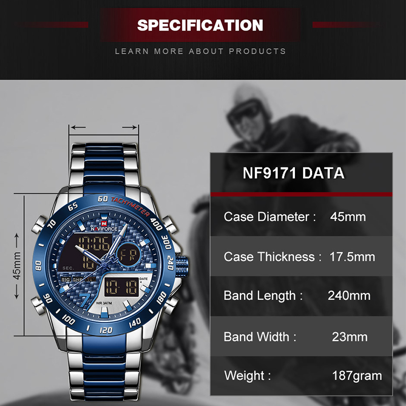 NAVIFORCE Luxury Brand Men Watch Military Digital Sport Wristwatch Mens Steel Strap Waterproof Clock Male Relogio Masculino 2020