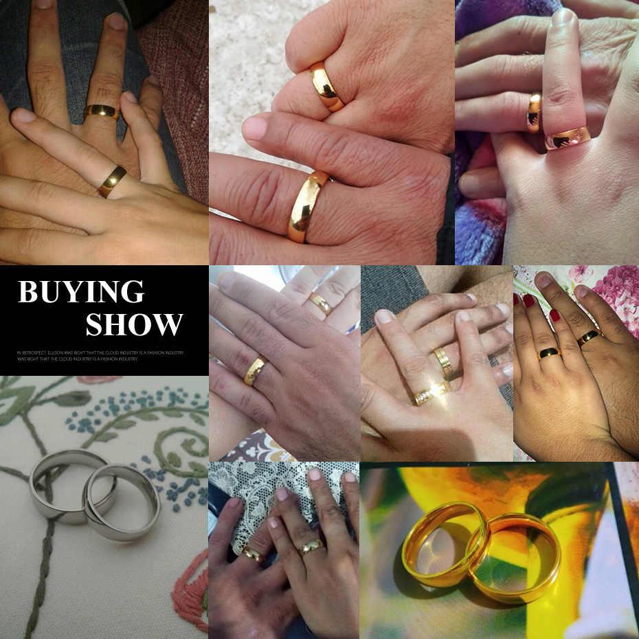 8 มม.6 มม.กว้าง 4 มม.เรียบเงินงานแต่งงานแหวนโลหะสแตนเลสผู้หญิงผู้ชายเครื่องประดับ
