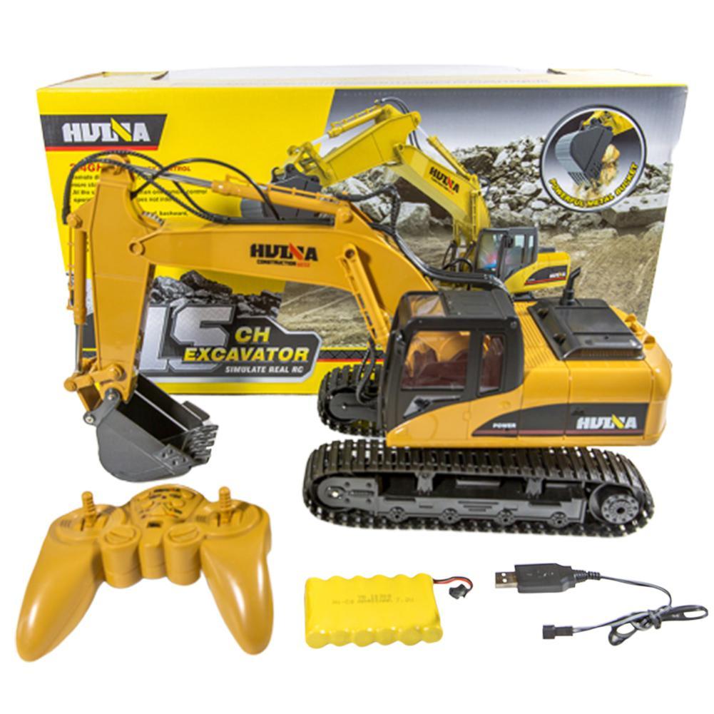 HuiNa Toys 1550 15 каналов 2,4G 1/14 RC автомобиль Вращение на 680 градусов металлический экскаватор Холодный Звук/светильник с эффектом