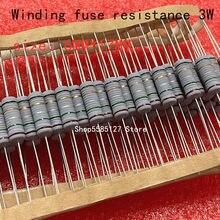 10PCS 3W 5% resistor da ferida do fio Fusível resistência do enrolamento 0.1R 0.15R 0.33R 1R 2R 2.2R 3R 4.7R 5.1R 6.8R 10R 20R 22R 33R 47R 100R