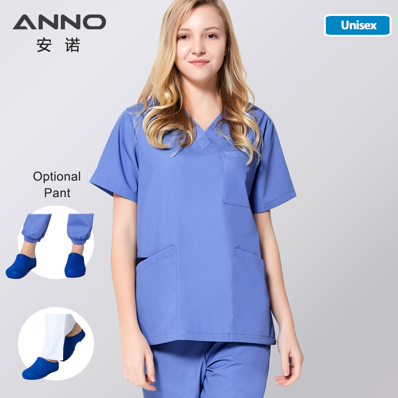 ANNO Blue Medical Clotheing Women Men Uniform Clinical Clothes Nursing Surgical Gown Summer Hospital Doctor Form