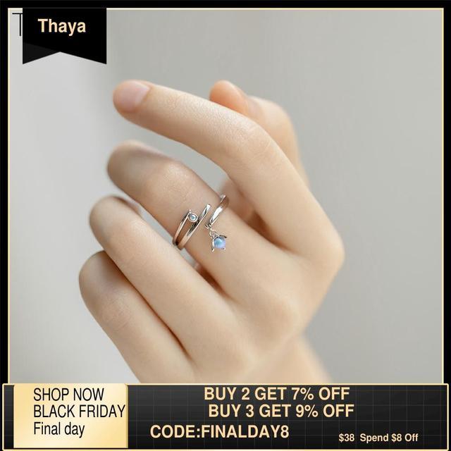 Thaya Sommernachtstraum Design Ringe Vintage Farbige Perlen S925 Sterling Silber Schmuck Ring Für Frauen