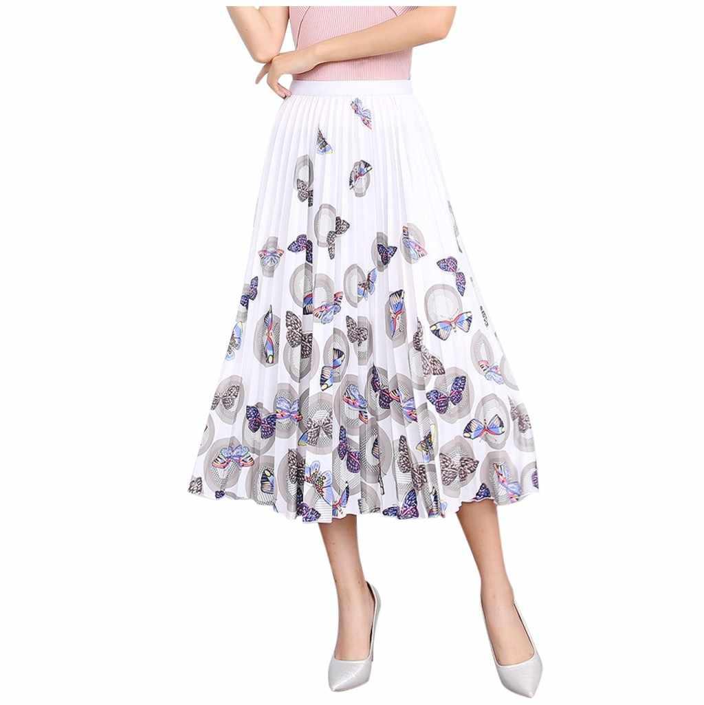 Fashion Wanita Seksi Longgar Nyaman Kasual Hip Rok Motif Kupu-kupu Rok High Waist Musim Panas Pantai Rok