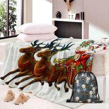 Elk Pattern Cool Family Super Soft Blanket Flannel Bed Sofa Boy Girl Portable Bedding Office Plane Travel Blankets