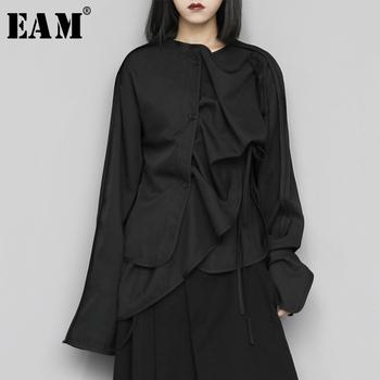 [EAM] kobiety czarny asymetryczny bandaż bluzka nowy wokół szyi z długim rękawem luźna koszula moda fala wiosna jesień 2020 1S435 tanie i dobre opinie COTTON Poliester REGULAR Wieku 16-28 lat O-neck WOMEN NONE Pełna Na co dzień JERSEY Stałe 1S43501S black