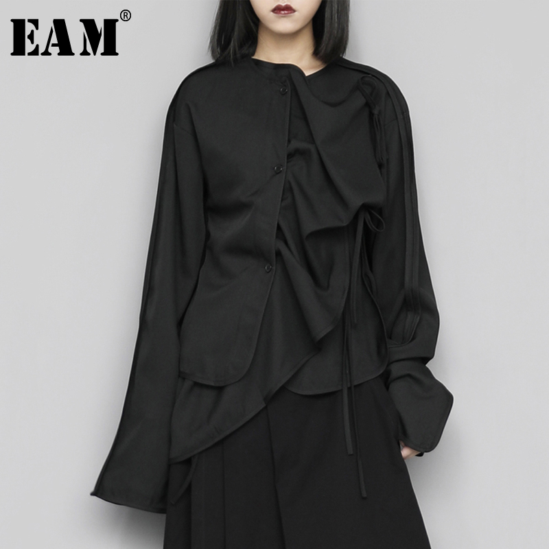 [EAM] Women Black Asymmetrical Bandage Blouse New Round Neck Long Sleeve Loose Fit Shirt Fashion Tide Spring Autumn 2020 1S435