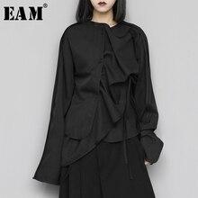[EAM] Women Black Asymmetrical Bandage Blouse New Round Neck