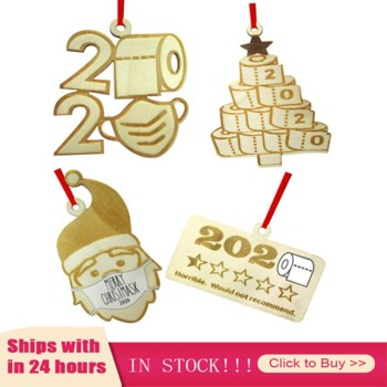 In Stock! Christmas 2020 Tree New Year Gift Wood Ornaments Pendants Hanging Crafts Xmas Home Decors Car Christmas Decorations image