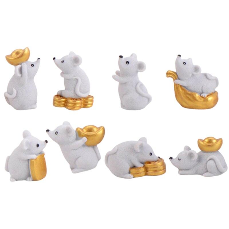 Ev ve Bahçe'ten Statü ve Heykelleri'de Mouse Miniature Statue 8 Pieces / Set Resin Bonsai Animal Home Decoration Accessories Crafts Figurine DIY Resin Gift title=