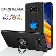 Case for Poco X3 Pro Smartphone, Silicone Case with Metal Ring Kickstand Xiaomi Pocofone X3 Pro Phone Cover Poco F3 5G Matte Cover Poco X3 Pro Case