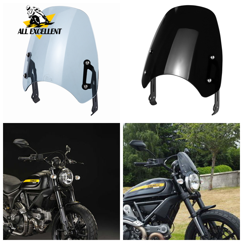 Windshield For 2015-2019 Ducati Scrambler (except Cafe Racer And 1100 Model) Front Windscreen Windshield Shield With Bracket