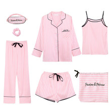 Sleepwear 7 Pieces Pyjama Set 2020 Women Spring Summer Sexy Pajamas Sets Sleep Suits Soft Sweet Cute Nightwear Gift Home Clothes(China)