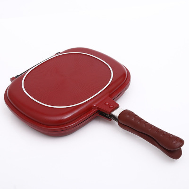 1PC Double-sided grill frying pan square shape non-stick pan baking steak frying pan 28cm kitchen cooking tool 1