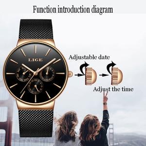 Image 5 - 2019 klassische Frauen Rose Gold Top Marke Luxus Laides Kleid Business Mode Lässig Wasserdichte Uhren Quarz Kalender Armbanduhr