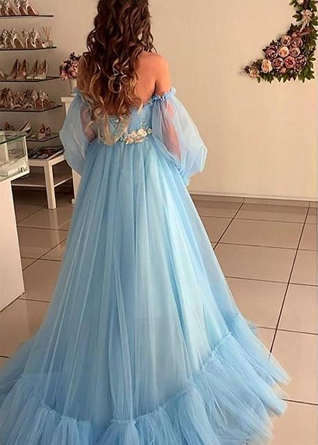LORIE Blue Prom Dresses Long Sleeve Off the Shoulder Princess Dress 2020 Tulle Lace-up Formal Evening Party Dresses Plus Size 2